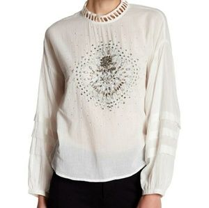 Free People Ivory Heart of Gold Embellished Blouse